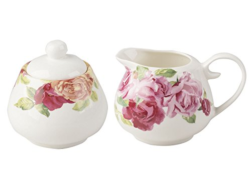 KEW GARDENS Southbourne Rose Zuckerdose und Milchkännchen Set, weiß Rose Garden Bone China