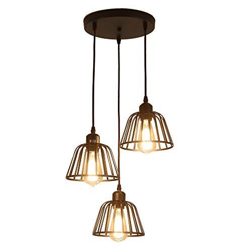 Luz colgante industrial rústica, 3 luces, techo industrial, lámpara colgante, lámpara E27...