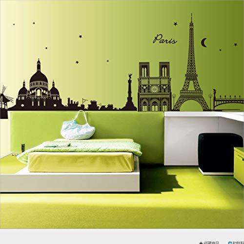 Wppaper Die Nacht in Paris PVC Dekoration Wandaufkleber Wohnzimmer Schlafzimmer Wand Aufkleber 60 * 90 cm (Nacht In Paris-dekorationen)