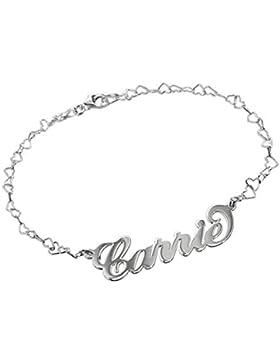 925er Silber Namensarmband/Fußband mit Herzkette - Personalisiert mit Ihrem Namen!