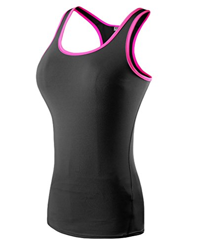 ZKOO Donna Sportivo Camicia Gilet Quick-Drying Running Yoga Fitness Tank Top NeroR S