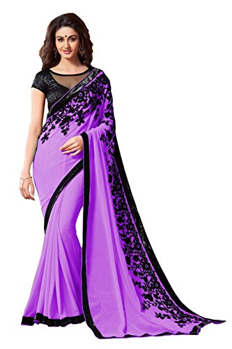Reeva Trendz Georgette Saree With Blouse Piece (Purple_Purple_Free Size)