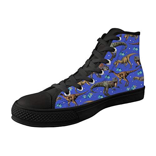 MODEGA Dinosaurier-Druck-Segeltuchschuh weiß Dinosaurier-Druck-hohe Schuhe Freizeitschuhe für Frauen laufende Schuhe des Dino