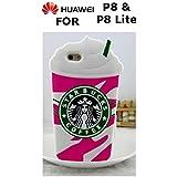3d Starbucks Ice Cream Hielo Color Rosa Soft TPU Silicona Funda Carcasa Rígida para Huawei P8& P8Lite