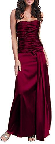Nachtigall+Lerche Abendkleid lang Charmeuse,Dunkelrot,34/XS Glamour Satin-heels