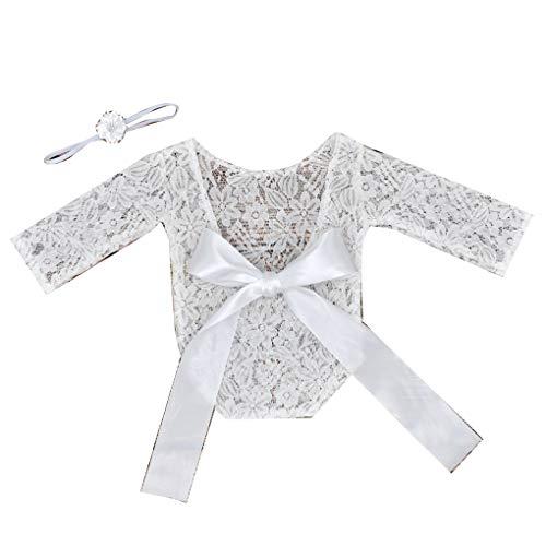 Schießen Mädchen (Techting 2pcs / Set Neugeborene Baby-Spitzebowknot-Entwurfs-Mädchen-Junge-Kleidung Unisex Baby-Foto-Schießen Prop Blüte Band)