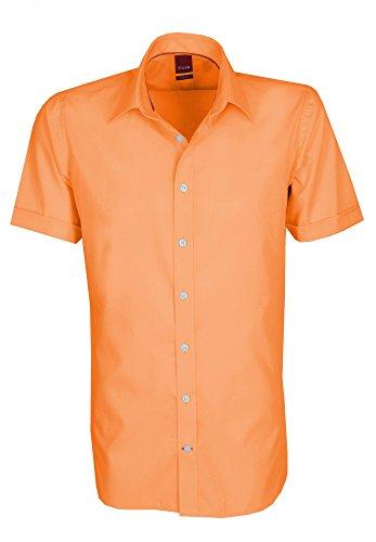 Pure - Slim Fit - Bügelfreies Herren Kurzarm Hemd in verschiedenen Farben (3345 717 A) Orange (62)