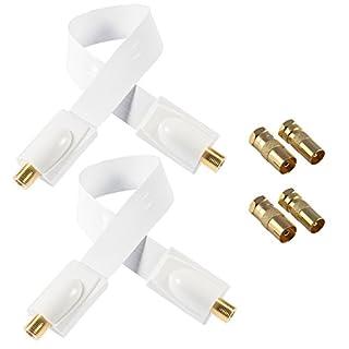 Poppstar 2x 28cm SAT Fensterdurchführung (Koax Kabel sehr flach 0,2mm), 4x F-Stecker (2x auf IEC Antennenstecker, 2x Buchse), für Fenster - Türen, Kontakte vergoldet, weiß