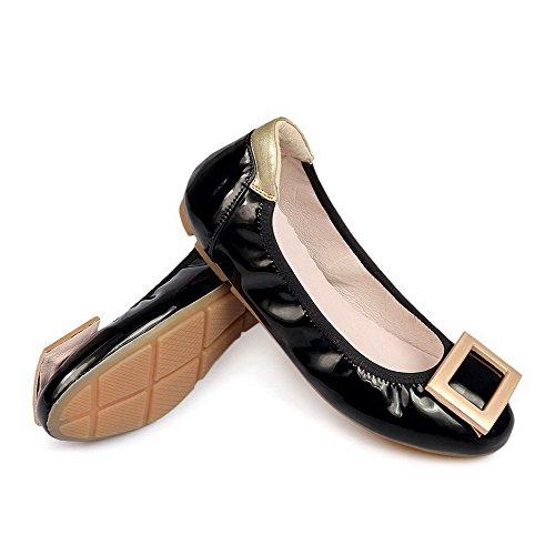 VogueZone009 Femme Rond Tire Pu Cuir Mosaïque à Talon Bas Chaussures à Plat Noir