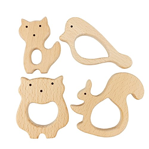 Best for baby 4pc Mordedor madera Animal madera Colgante