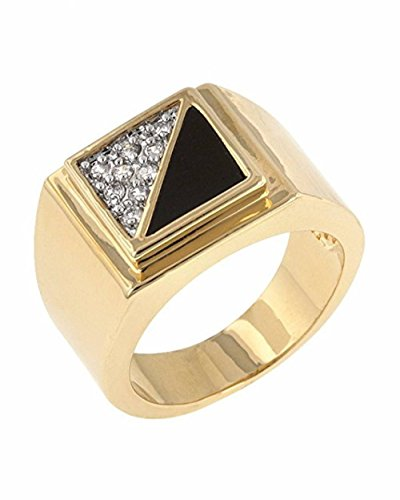 ISADY - Jazz - Herren-Ring - 585er 14K Gold platiert - Zirkonium und onyx schwarz - T 67 (21.3)