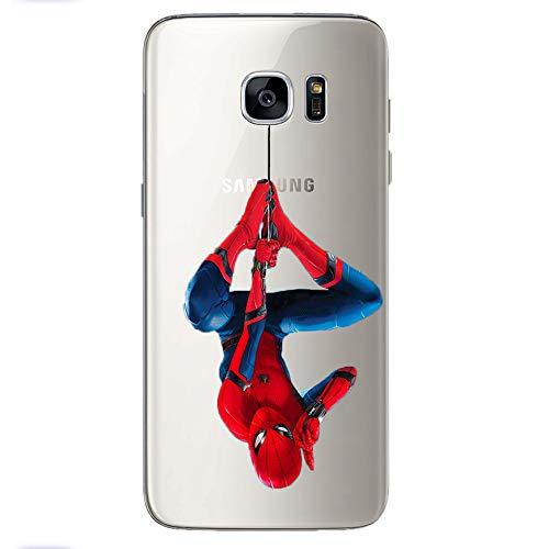 Silikon transparent Case mit Motiv Handy Schutz für Rückseite Hülle Backcover Cover Tasche Slim Schutzhülle mit Muster Bumper TPU kompatibel mit Samsung Galaxy J5 2017 Spiderman M7#58