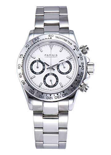 PARNIS Modell 2173 Herrenuhr-Chronograph 40mm Saphirglas Armbanduhr 316L-Edelstahl 5BAR MIYOTA Markenuhrwerk Edelstahl-Armband