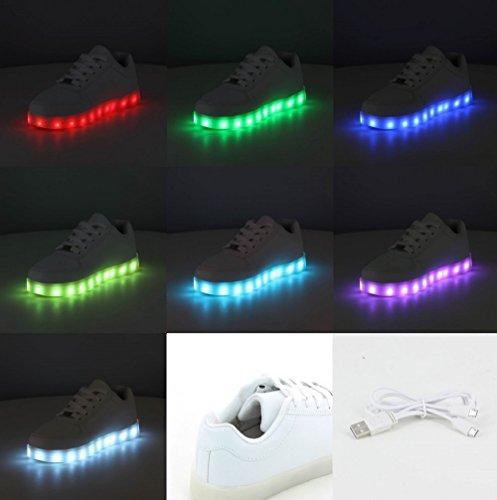 Scarpe da ginnastica, luce a LED, 7 colori, da uomo e da donna Nero (nero)