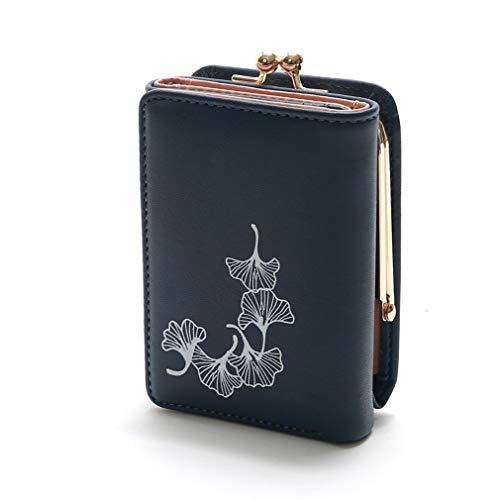 Kleine Snap Wallet (LIXIAQ1 Kurze Ginkgo Leaf Wallet Metall Druckknopf Kartenhalter Small Cash Wallet dreifach gefaltete Geldbörse Geburtstagsgeschenk, blau)