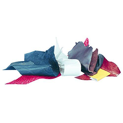 RAYHER Lederreste in verschiedenen Formen und Größen, gemischte Farben, Beutel 500g