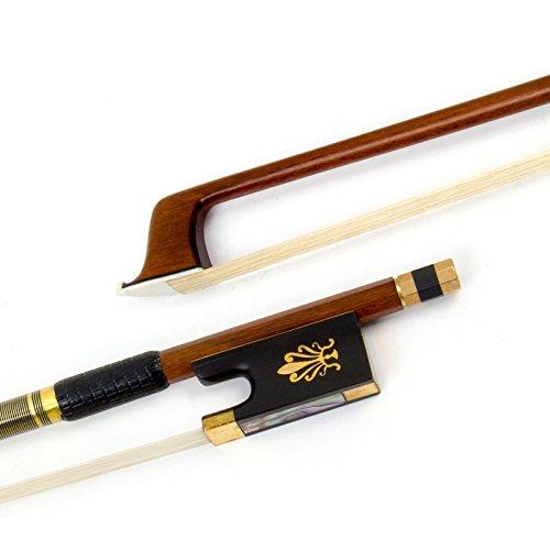 Kmise Geigenbogen Violinenbogen 4/4 Volle Größe Pernambuco Bogen für Geige Fiddle mit Mongolisch Rosshaar OX Horn Frosch Messing Drahtwicklung für Anfänger und Erweiterter Spieler