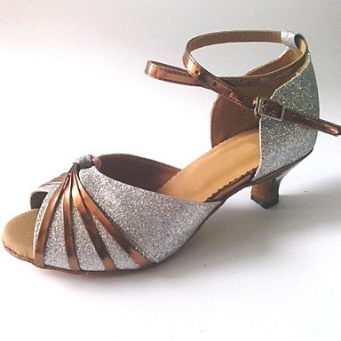 Zapatos De Baile Para Mujer - América Latina - Talón Personalizado - Brillo - Rosa / Rosa Plateado