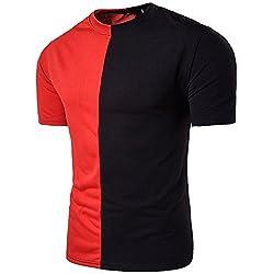 Yowablo Shirt Herren Sommer Casual Patchwork Muscle Pullover mit kurzen Ärmeln Top Bluse (XXL,Rot)