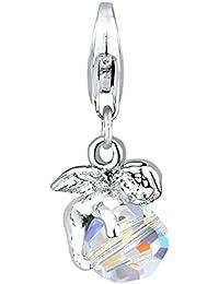 Elli Damen-Charm Engel 925 Sterling Silber Swarovski Kristall weiß Perlenschliff 403132012