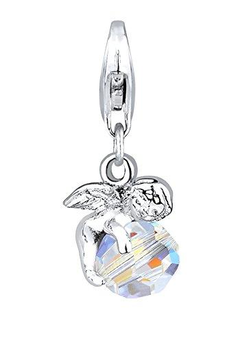 Elli Damen Schmuck Charm Clasp Charm Engel Schutzengel Glücksbringer Himmel Silber 925 Swarovski® Kristalle