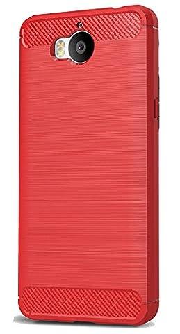 Huawei Y5 2017 / Y6 2017 Coque, Ferlinso Flexible Rugged Armour Hybrid Defender Housse de protection contre les chocs Housse de protection en fibre de carbone avec [Protection écran] pour Huawei Y5 2017 / Y6 2017 (Rouge)