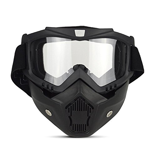 JING Outdoor-Sportarten Anti-Uv Sonnenbrille Retro Ritter Maske Winddicht Brille Cross-Land Anti-Impact Leichte Motorrad Gläser für Skifahren reiten und Klettern, transparent