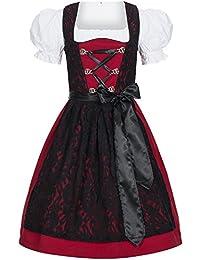 Dirndl Set 3 tlg. Trachtenkleid Lilly rot mit Spitze in schwarz, Marke Gaudi-Leathers