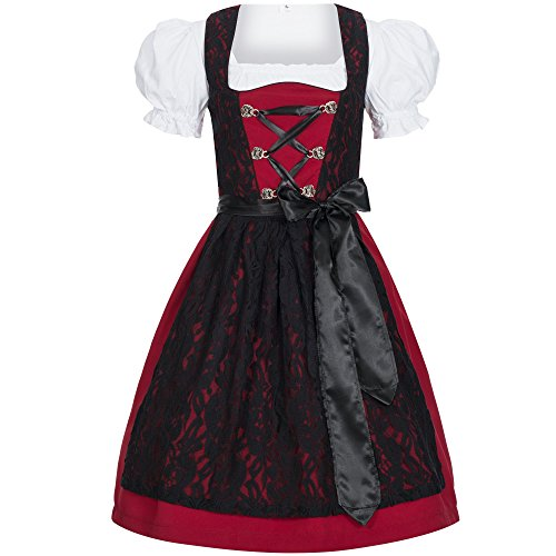 Gaudi-Leathers Bavarese Dirndl set Lilly 3 pezzi costume tipico tirolese per Oktoberfest Carnevale Donna 46