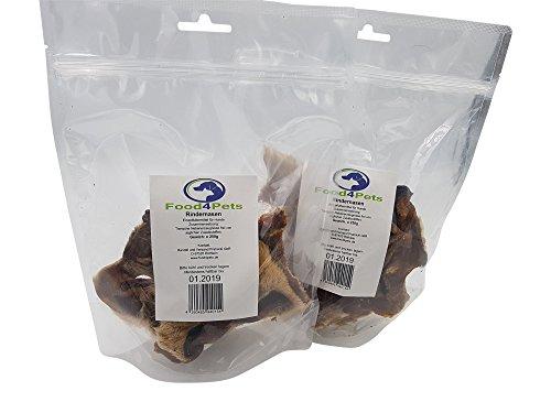 Rindernasen mit Fell Kausnack für Hunde 2 x 250g - natürliche Zahnpflege für ihren Hund