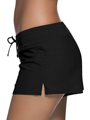 Dolamen Donna Pantaloni da Nuoto, Costumi da bagno Donna Pantaloncini Bikini Costume intero moda da bagno Swimsuit Swimwear Costume Mare Con Drawstring regolabile, Boyleg Style Nero