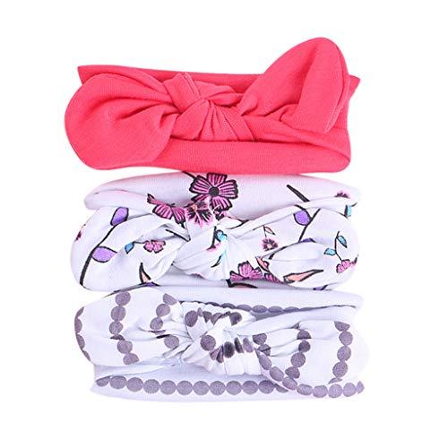 hre Baby Mädchen Blumenstirnband Elastic Bowknot Zubehör Kinder Haarband Set 3tlg ()