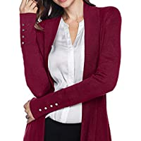 MEIbax Abrigos Mujer Invierno Rebeca de Punto para Mujer con Mangas largas en Color Liso Botón Outwear Escudo