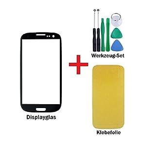 iTech Germany Displayglas Reparatur-Set für Samsung Galaxy S3 Mini Schwarz - Front Display Glas für i8190 i8195 + Klebefolie und Werkzeug-Set