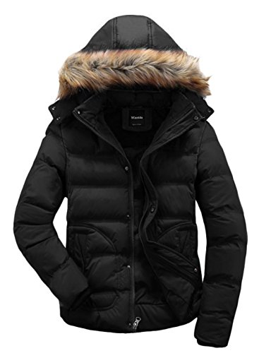 Wantdo Homme Veste d'hiver à Capuche Détachable avec Fourrure Blouson Rembourré Manteau Décontracté Noir X-Large