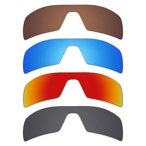 Mryok Polarisierte Ersatzgläser für Oakley Oil Rig Sonnenbrillen - Stealth Black/Fire Red/Ice Blue/Bronze Braun, 4 Paar