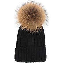 Rovinci Mode l'automne Hiver Femmes Couleur Unie Crochet Bonnet en Laine Tricoté Boule de Cheveux Béret Casquette de Ski Ball Bouffant Hiver Chapeau Chaud