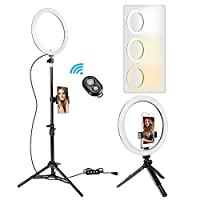 LED Ring Light 10 Inch with Tripod Stand, ICETEK Dimmable Selfie Ring Light Kit 3 Color Modes 11 Brightness, Bluetooth Receiver Smartphone Holder for Photo Studio YouTube Video with Table Tripod
