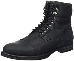 Joe Browns Men's Must Have Oiled Leather Combat Boots, Black (Black), 9 UK 43 EU