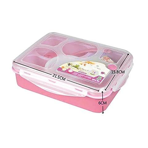 Fulltime®Five Plus A Avec Bowl Four à micro-Compartiment Lunch Box (Rose)