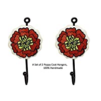 Rural Handmade Poppy Rememberance day Gift, Designer Multipurpose 2 x Mix Vintage Look (Red) Heart Shape- Colourful Ceramic Hook Wall Coat Hooks Hat Clothes Hangers(Large)