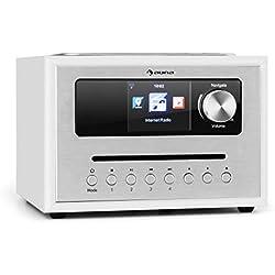 "AUNA Silver Star Cube Radio - Radio WiFi avec Lecteur CD, Micro-chaîne, Tuner FM, Bluetooth, 10W RMS, Écran HCC 2,8"", AUX, Appli de contrôle, Blanc"