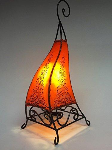 Orientalische Tischlampe Rahaf 50cm Lederlampe Hennalampe Lampe | Marokkanische kleine Tischlampen aus Metall, Lampenschirm aus Leder | Orientalische Dekoration aus Marokko, Farbe Orange