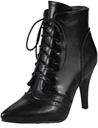 e7aa2c820 Smilice Women Boots with Kitten Heel and Pointed Toe Lace Up Ankle Boots  with 3-