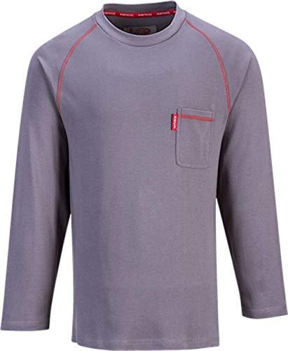 Portwest fr01grrxxxl Bizflame feuerbeständig Rundhalsausschnitt Shirt, Regular, Größe: 3X Große, Grau -