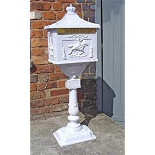 Free Standing Outdoor Aluminium Post Letter Mail Box (White)