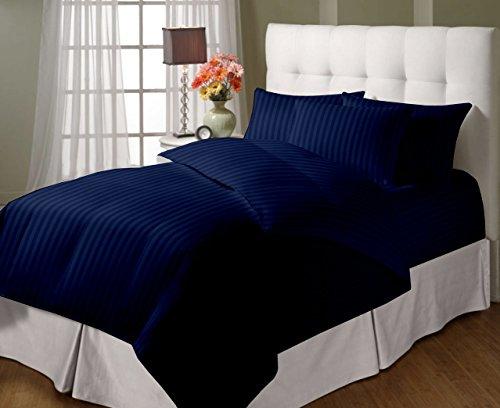 Cloth Fusion 300 Tc Cotton Double Sized Satin Striped Duvet/Quilt/Comforter Cover-Navyblue