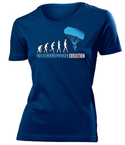 Fallschirmspringer Evolution 607 Tandem Sport Damen Fun-T-Shirts Navy Aufdruck Blau M