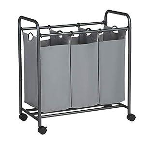 SONGMICS Wäschekorb auf Rollen, Wäschesortierer mit 3 abnehmbaren Stofftaschen, Wäschesammler, Aufbewahrung für Spielzeug, stabil, 3 x 44 Liter, grau LSF003GS