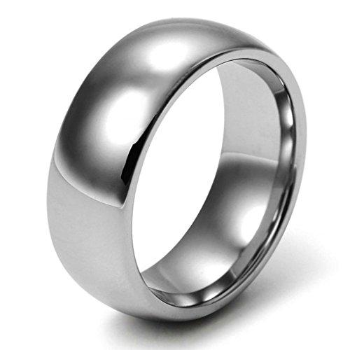 Aooaz Schmuck Herren Ring,Polieren Klassisch Wolframkarbid Ehering Verlobungsringe für Herren Hellgrau Größe 67(21.3) Surf-quilt-set